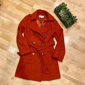Burnt orange pea coat